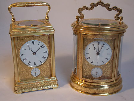 Antique Carriage Clocks. engraved case carriage clock
